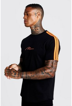 Herr Black MAN Signature Curved Hem T-Shirt With Tape Detail