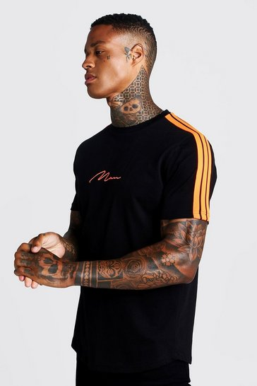 Black MAN Signature Curved Hem T-Shirt With Tape Detail