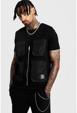 Black MAN Utility Vest T-Shirt 2 In 1