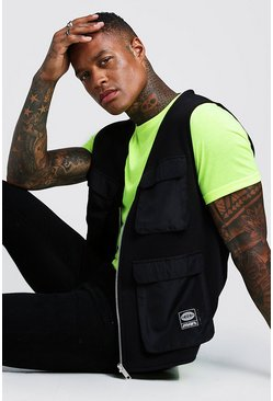 Herr Neon-yellow MAN Utility Vest T-Shirt 2 In 1