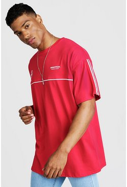 Red MAN Official Oversized T-Shirt With Tape Detail