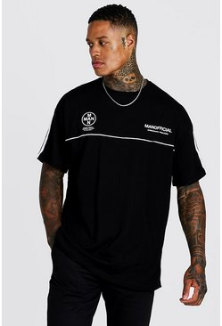 Mens Black MAN Official Oversized T-Shirt With Tape Detail