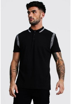 Mens Black MAN Tape Detail Polo