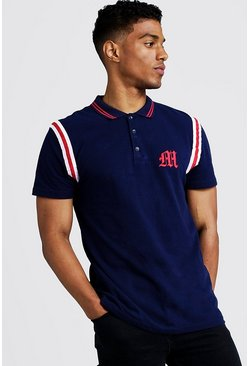Navy MAN Official Polo With Tape Detail