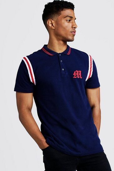 Mens Navy MAN Official Polo With Tape Detail