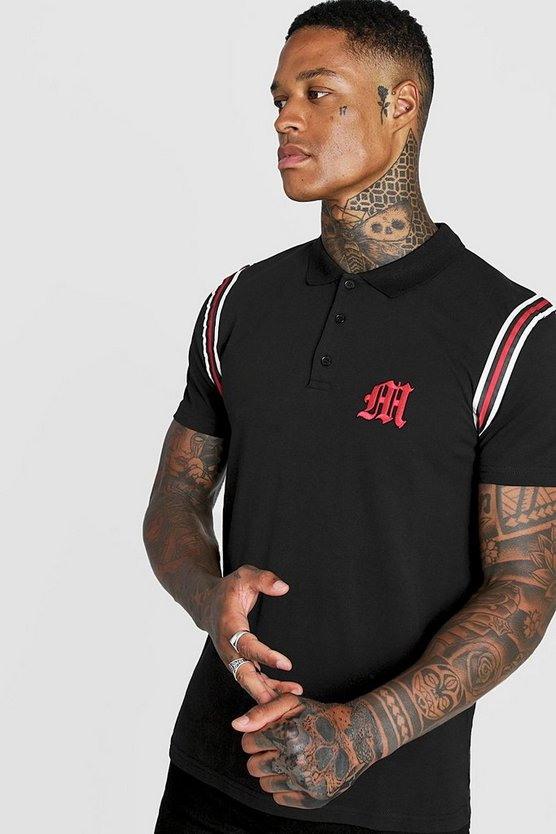Black Gothic M Polo With Tape Detail