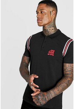 Mens Black Gothic M Polo With Tape Detail