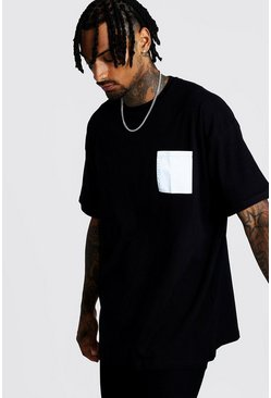 Mens Black Oversized T-Shirt With Reflective Pocket