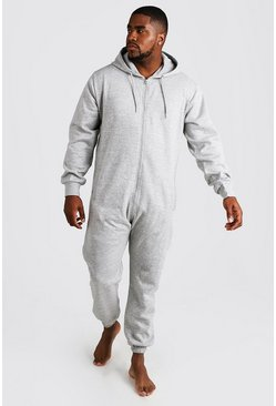 Mens Grey Big & Tall Zip Through Hooded Onesie
