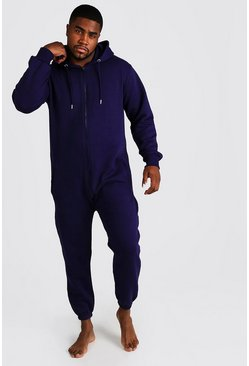 Mens Navy Big & Tall Zip Through Hooded Onesie