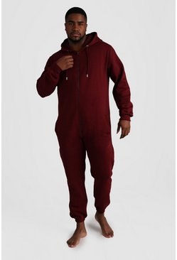 Mens Burgundy Big & Tall Zip Through Hooded Onesie