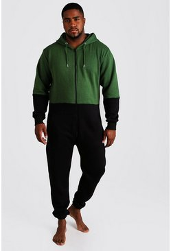 Mens Green Big & Tall Colour Block Onesie