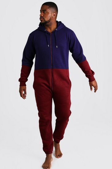 Mens Burgundy Big & Tall Colour Block Onesie