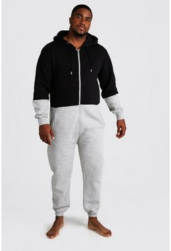 Mens Grey Big & Tall Colour Block Onesie