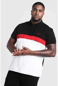 Black Big & Tall MAN Colour Block Ribbed Sleeve Polo