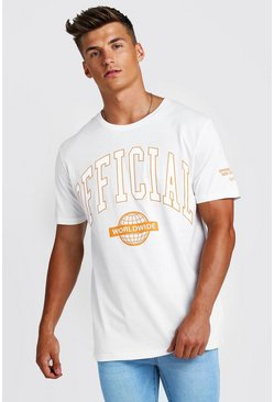 International Back Print Loose Fit T-Shirt, Ecru, HOMMES