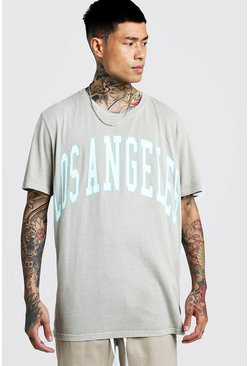 Los Angeles Loose Fit Overdyed T-Shirt, Oatmeal, HOMMES