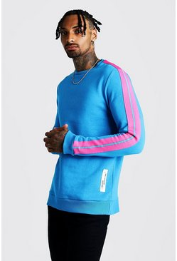 MAN Collection Pullover mit seitlichem Band, Blau, Herren