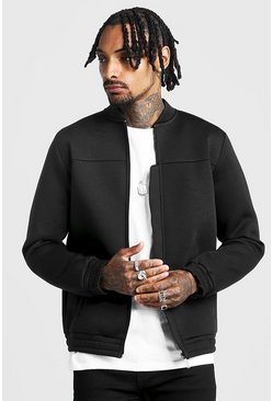 Mens Black Smart Scuba Bomber Jacket