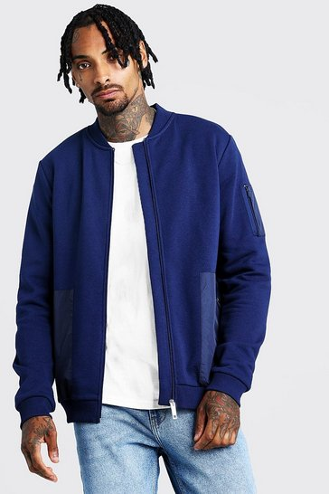 Mens Navy Jersey Utility Bomber With Nylon Pockets