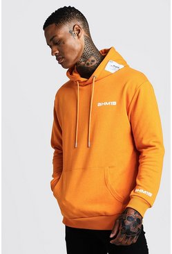 Mens Orange Loose Fit Hoodie With BHM19 Tab