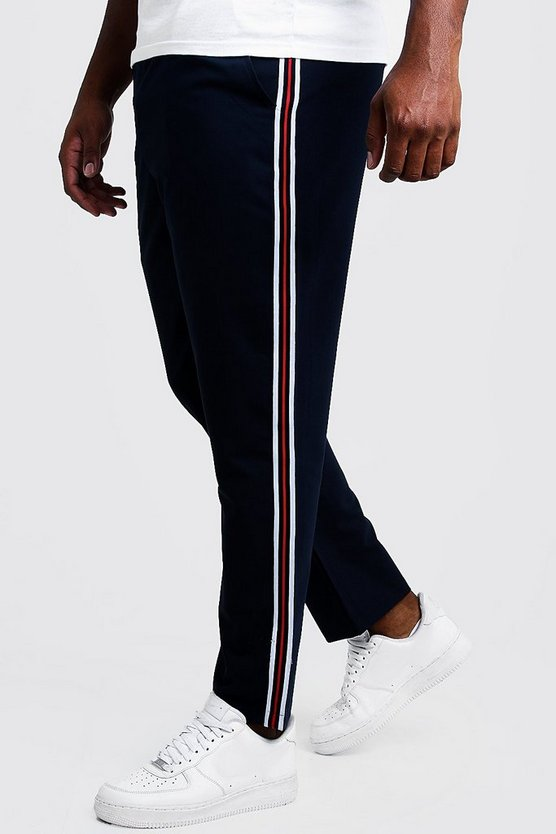 Navy Big & Tall Skinny Fit Woven Side Tape Jogger