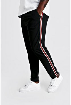 Herr Black Big & Tall Skinny Fit Woven Side Tape Jogger