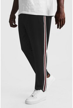 Black Big & Tall Skinny Fit Woven Jogger With Tape
