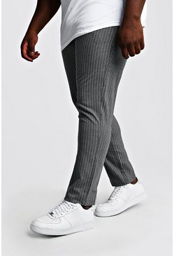 Pantaloni jogging intessuti a righe sottili Big & Tall, Grey, Maschio