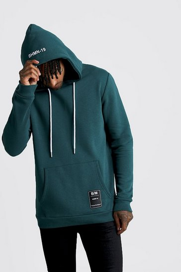 Mens Teal Over The Head Hoodie With BHM19 Tab