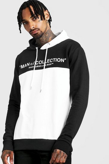 Mens White MAN Collection Colour Block OTH Hoodie