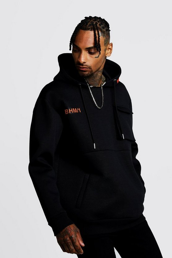 Black Loose Fit BHM1 Scuba Utility OTH Hoodie