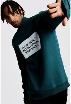 Mens Teal Official MAN Loose Fit Funnel Neck Sweater