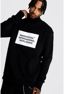 Sweat coupe ample à épaules tombantes MAN officiel, Noir, Homme