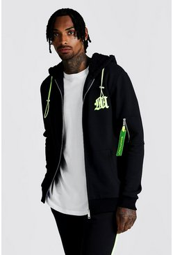 Herr Black M Borg Lined Hooded Zip Through With Neon Puller