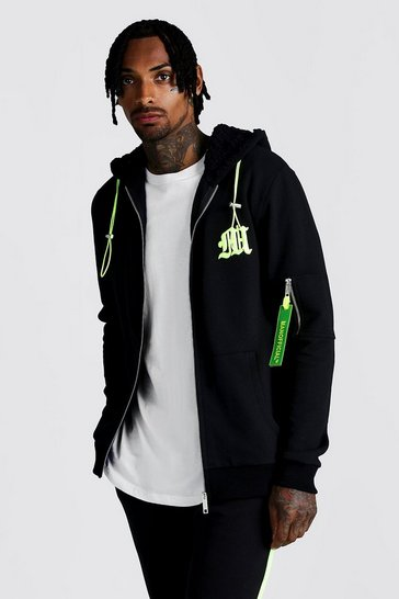 Mens Black M Borg Lined Hooded Zip Through With Neon Puller
