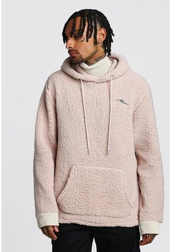Sand MAN Signature Borg Hoodie With Knitted Funnel Neck