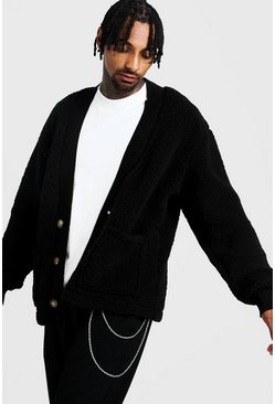 Mens Black Oversized Borg Cardigan
