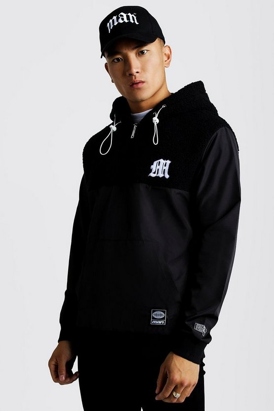 Mens Black M Embroidered Half Zip Hoodie With Badge