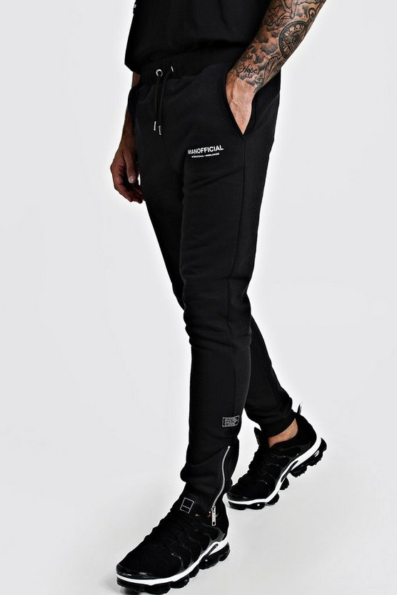 Man Official Skinny Fit Joggers With Zips by Boohoo