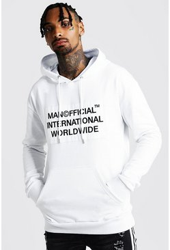 Sweat à capuche à épaules tombantes MAN Worldwide, Blanc, Homme
