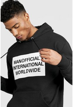 Sweat à capuche à épaules tombantes MAN Worldwide, Noir, Homme