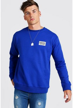 Sweat coupe ample MAN Worldwide, Cobalt, Homme