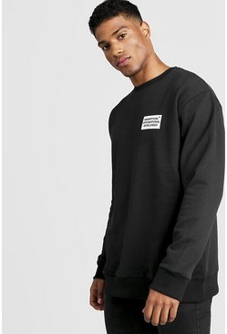 Mens Black MAN Worldwide Loose Fit Sweatshirt