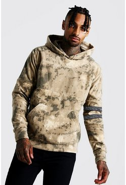 Mens Khaki Camo Polar Fleece Hoodie With MAN Tape
