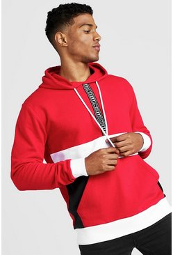Sweat à capuche colour block avec bande MAN, Rouge, Homme