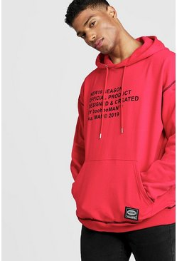 Sweat à capuche oversize MAN New Season, Rouge, Homme