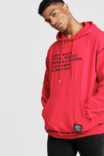 Mens Red New Season MAN Oversized Hoodie