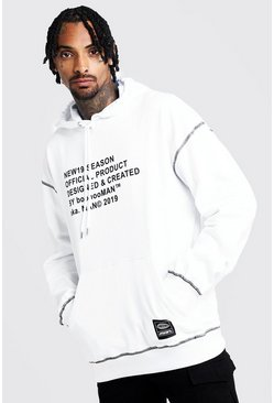 New Season MAN Oversized Hoodie, Weiß, Herren
