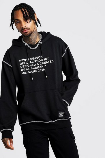 Mens Black New Season MAN Oversized Hoodie